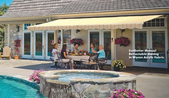 Retractable Awning by Pool